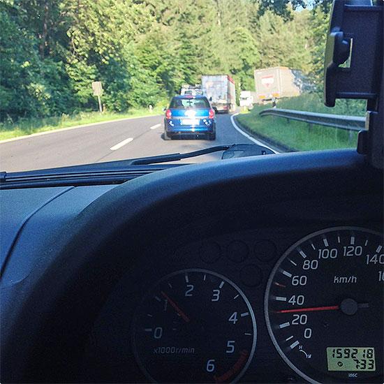12 von 12 - Juni 2014 - spät dran - LKW langsam - Stau