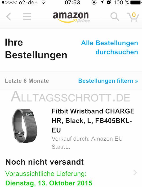 12 von 12 - Oktober 2015 - FitBit Charge HR bei Amazon bestellt