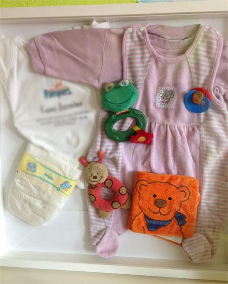 gerahmte Erinnerungen - Babys erste Sachen - Lieblingsstücke