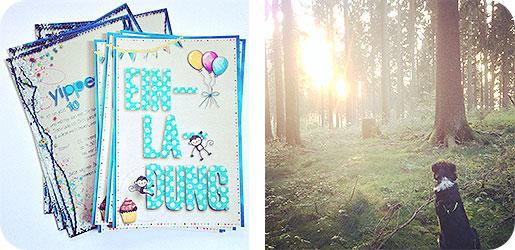 Einladungen zum Geburtstag - Verkauf - selbstgemacht - Spaziergang - Wald - Hund - Romantik