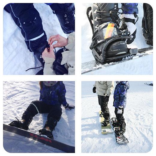 Boots binden - Boots in die Bindung des Boards schnüren - Snowboard fahren lernen