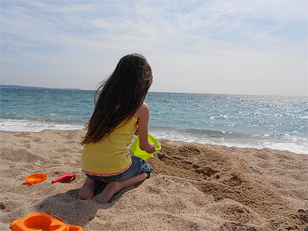 Sandstrand in Cannes - die Prinzessin am Strand