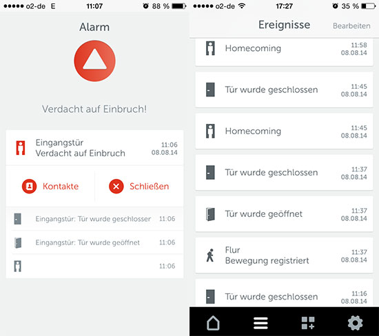 Gigaset elements safety starter kit im Test - Screenshot vom Bildschirm der App elements