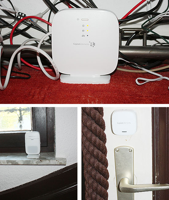 Gigaset elements safety sterter kit im Test - die Sensoren sind in der Wohnung verteilt