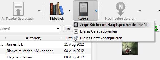 eBooks im Hauptspeicher des eReaders anzeigen