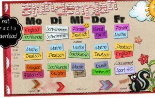 Stundenplan für Grundschulkinder