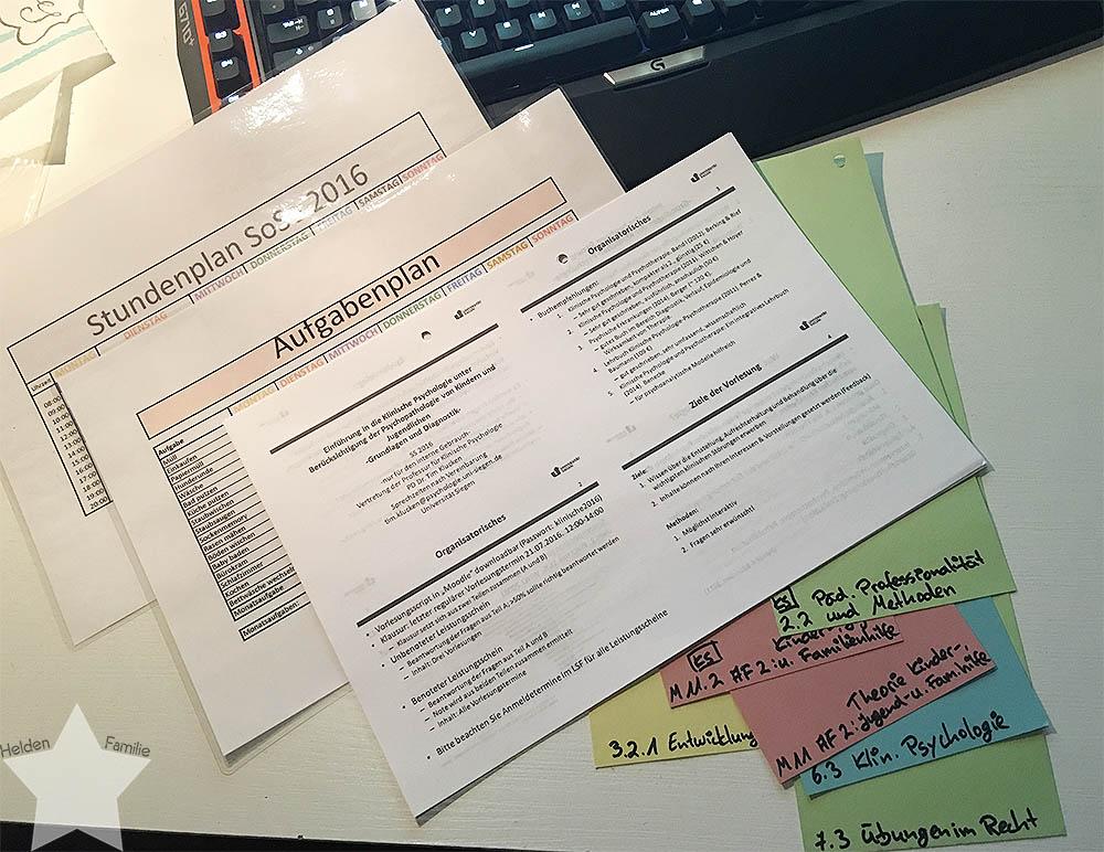 Wochenende in Bildern - Stundenplan, Aufgabenplan und Vorbereitungen für die Uni - Aufräumwochenende