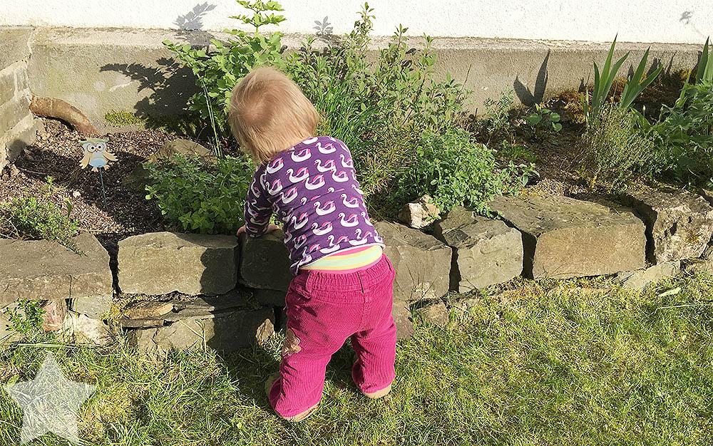 Wochenende in Bildern - ein Vorgeschmack auf den Sommer - Baby probiert Kräuter aus dem Kräuterbeet