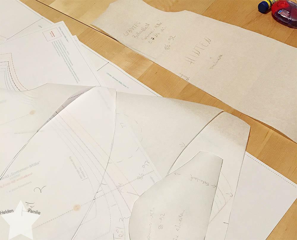 12 von 12 - Mai 2016 - Schnittmuster auf Butterbrotpapier
