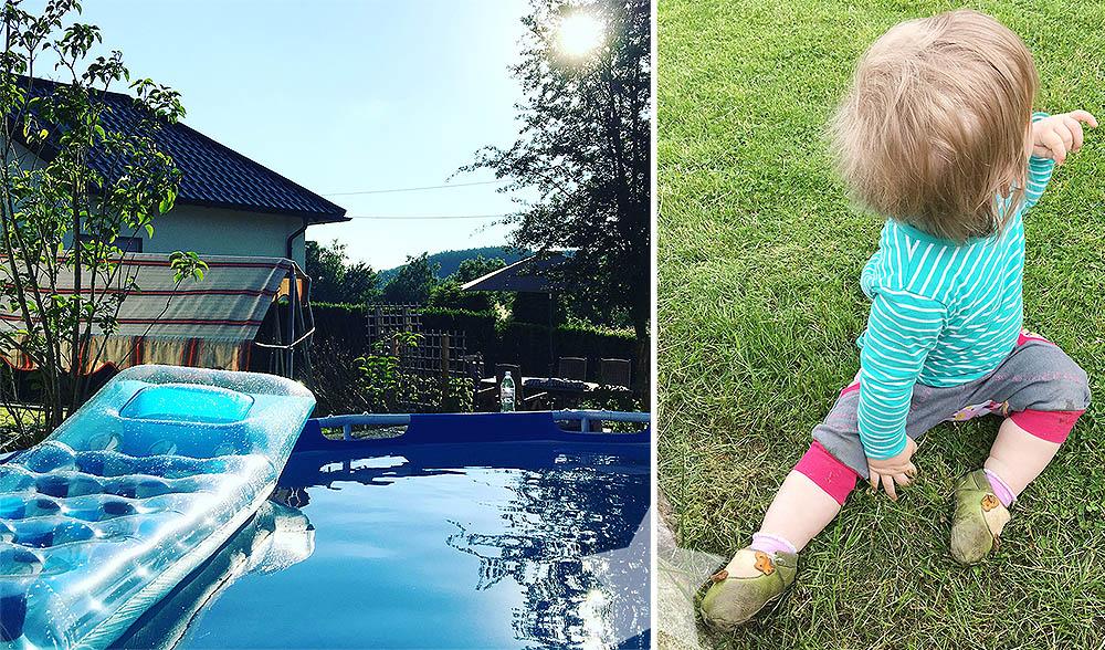 Ein Tag Sommer - Pool im Garten und Lotte sitzt