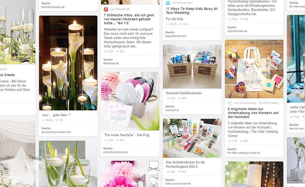 Freitagslieblinge - Lieblingsinspiration - Pinterest Board - Hochzeit 2016