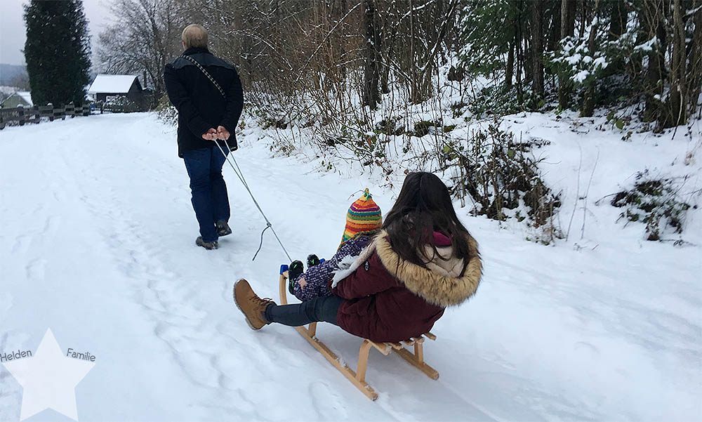 Wochenende in Bildern - Nähprojekte & Schneegestöber - Schlittenfahrt