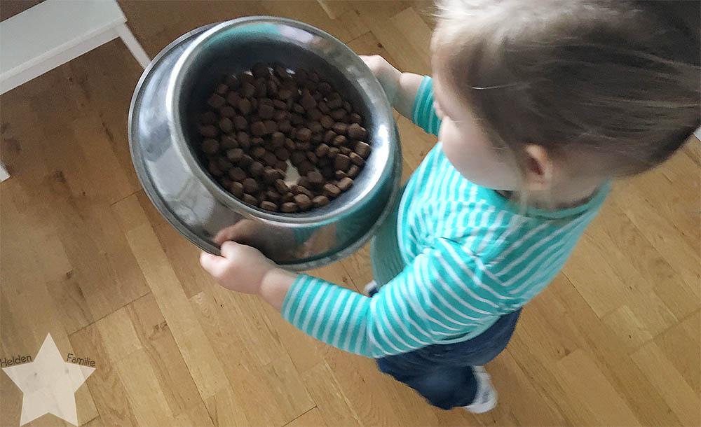 Wochenende in Bildern - Kinderkram und Haushalt - Kleinkind macht dem Hund Frühstück