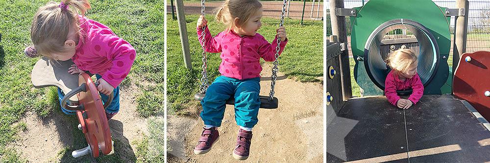 Auf dem Spielplatz - ausgelassene Lotte