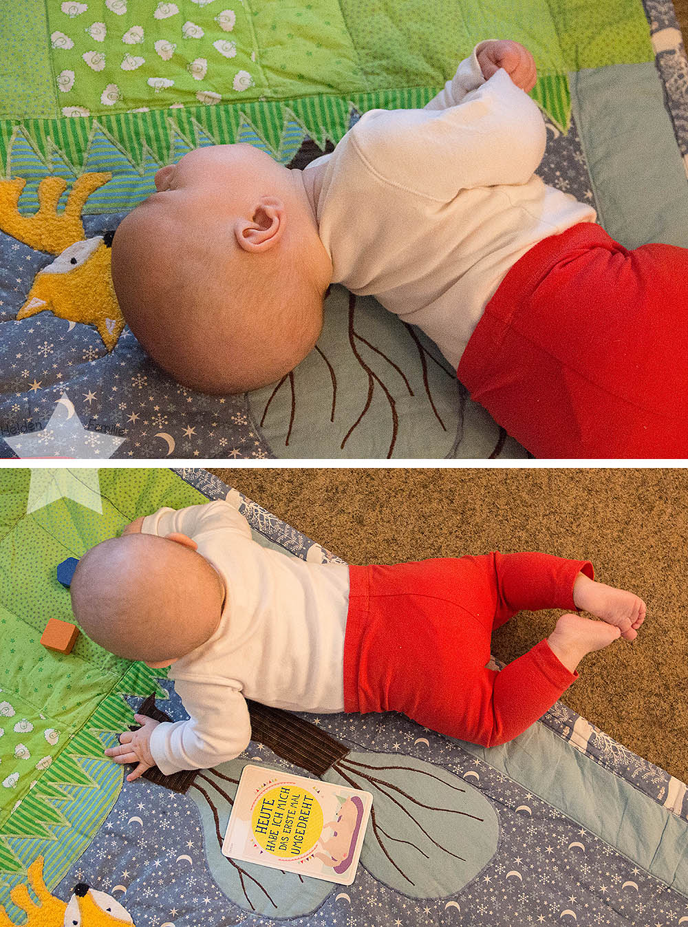 Wochenende in Bildern - Sonne, Garten, Wasserspiele - Baby dreht sich auf den Bauch