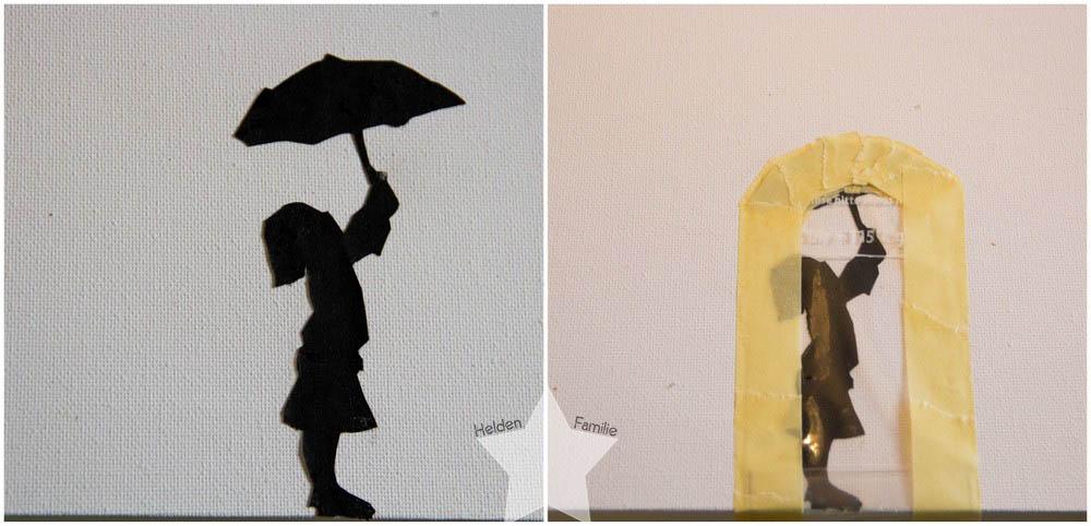 Mädchen im Farbregen - Mädchen mit Regenschirm ausgeschnitten auf auf die Leinwand gebracht