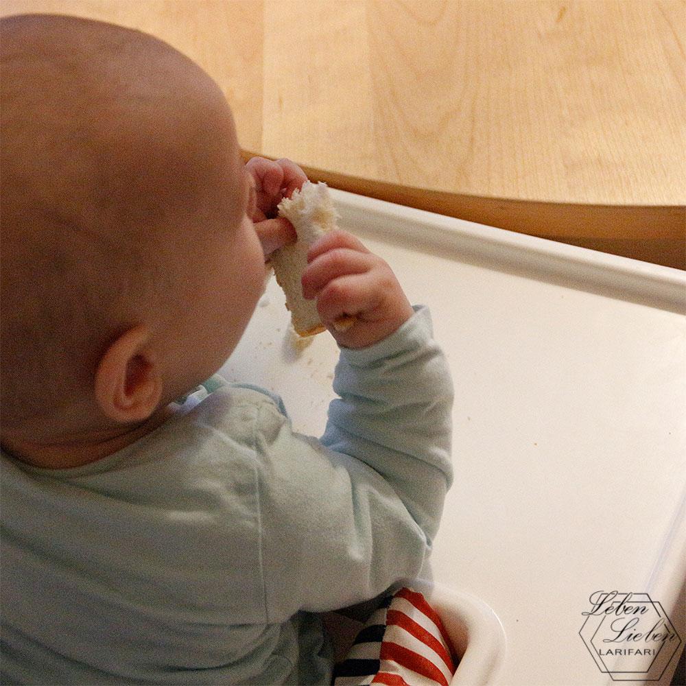 9 Monate Jona - Entwicklung - das Baby isst (nicht)