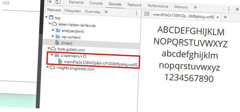 Screenshot: Google Fonts werden immer noch geladen