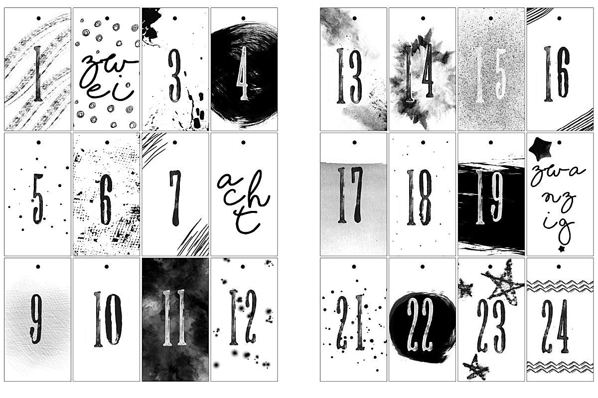 Adventskalender - kleine Anhänger - 24 Zahlen auf Tags zum kostenlosen Download