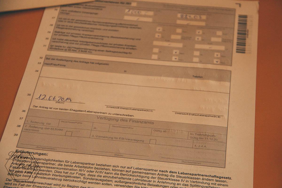Formular: Steuerklassen wechseln