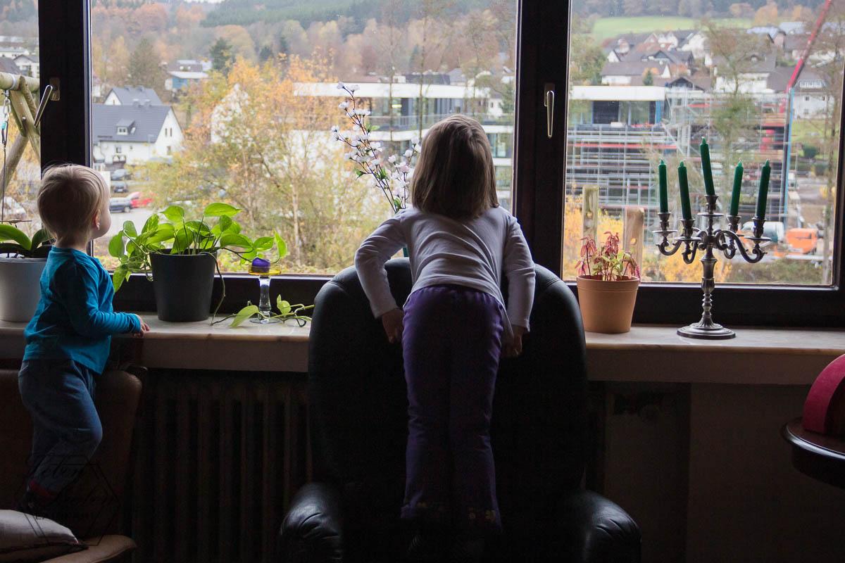 Aus dem Fenster sehen: Baustelle
