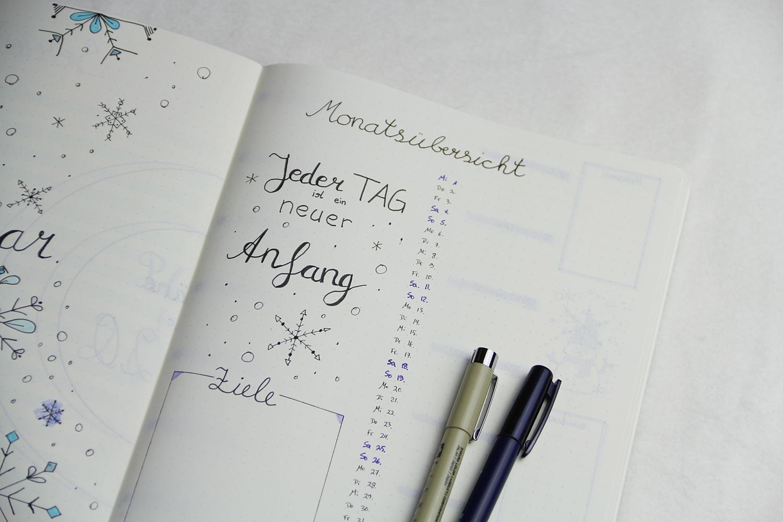 Bullet Journal 2020 - Januar Monatsübersicht rechts