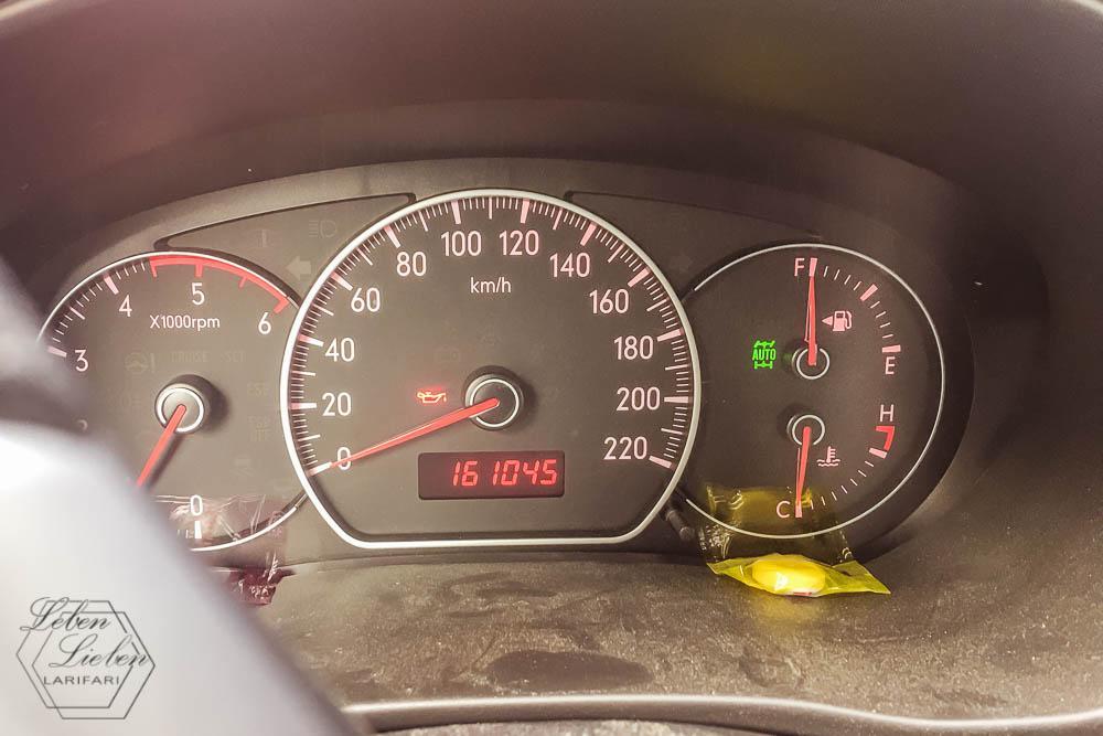 Autofahrt - die Öldruckwarnleuchtebesorgt